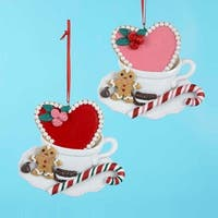 "Club Pack of 12 Gingerbread Kissed Heart and Mug Christmas Ornaments 3.5"" - multi"