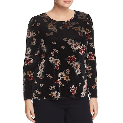 Vince Camuto Womens Floral Story Stretch Velvet Top 1X Rich Black