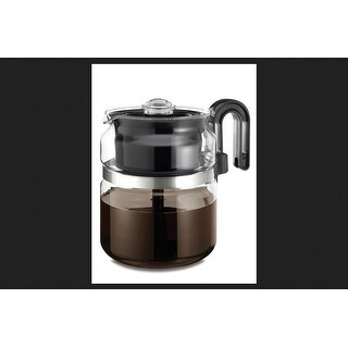 Medelco Cafe Brew Collection 8-Cup Glass Stovetop Percolator, Black