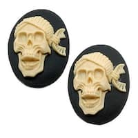 Lucite Oval Cameo - Black With Ivory Laughing Pirate Skull 25x18mm (2 Pieces)