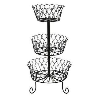 Home District 3-Tier Iron Fruit Basket Stand - Footed Wire Graduated Food Storage Bowls for Countertop and Dining Table - metal