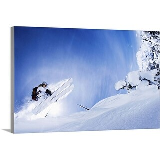 """""""Skier jumping on snowy slope"""" Canvas Wall Art"""