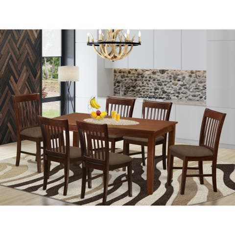 7-piece Dinette Set - Dining Table and 6 Chairs in Mahogany Finish