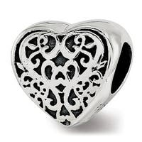 Sterling Silver Reflections Filigree Heart Bead (4.5mm Diameter Hole)