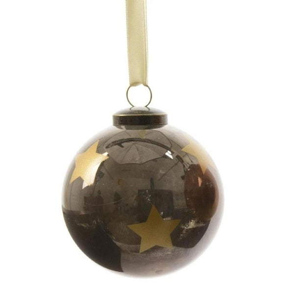 "3ct Luxury Lodge Shiny Black with Gold Star Christmas Ball Ornaments 3.25"" (80mm)"