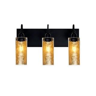 Besa Lighting 3WG-DUKEGF Duke 3 Light Vanity Strip with Handcrafted Glass and Gold Foil Applique