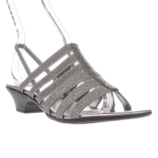 KS35 Estevee Strappy Slingback Sandals, Pewter