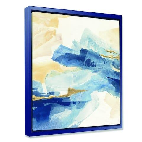 Designart 'Metallic Gold Indigo II' Modern Glam Framed Canvas - Blue