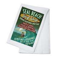 Seal Beach CA Surf Shop Vintage Sign - LP Artwork (100% Cotton Towel Absorbent)