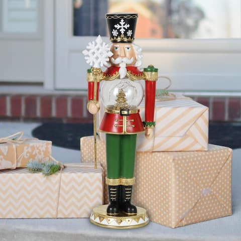 Exhart Hand Painted Nutcracker with LED Tree Globe & Timer, 20 Inches