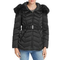 T Tahari Women's Leon Faux Fur Trim Hood Belted Coat Short Jacket Black (L)
