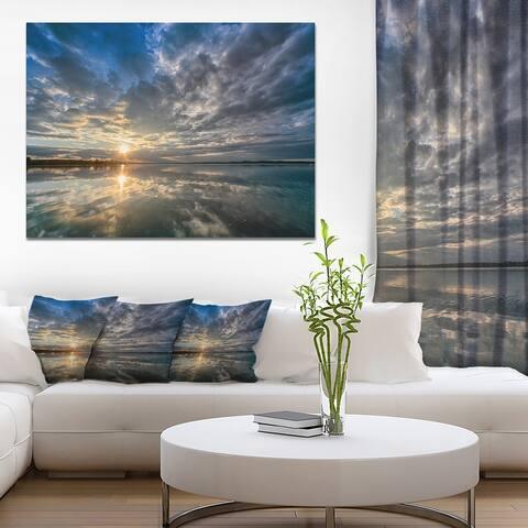 Designart 'Sunset with Dramatic Sky and Sea' Modern Seashore Canvas Wall Art Print
