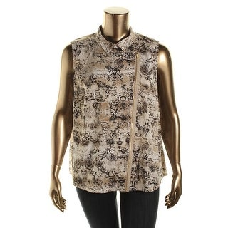 Calvin Klein Womens Plus Snake Print Sleeveless Blouse - 2X