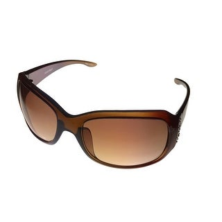 Ellen Tracy Womens Sunglass 521 3 Mocha Rectangle Plastic Crystals Gradient Lens - Medium