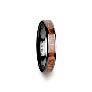GABON Black Ceramic Band with Polished Bevels and Exotic Mahogany Hard Wood Inlay 8mm