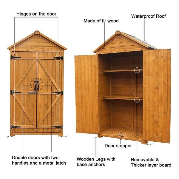 Mcombo Outdoor Storage Cabinet Tool Sheds Backyard Garden Utility Wooden Organizer With Lockable Double Doors 1000 On Sale Overstock 28949552