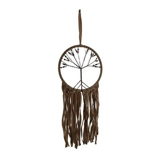 The Tree of Life Tan Faux Suede Beaded Dreamcatcher