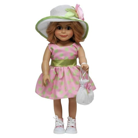 18 Inch Doll Clothes Outfit Pink Polka Dot Dress, Hat & Hand Bag Fits American Girl