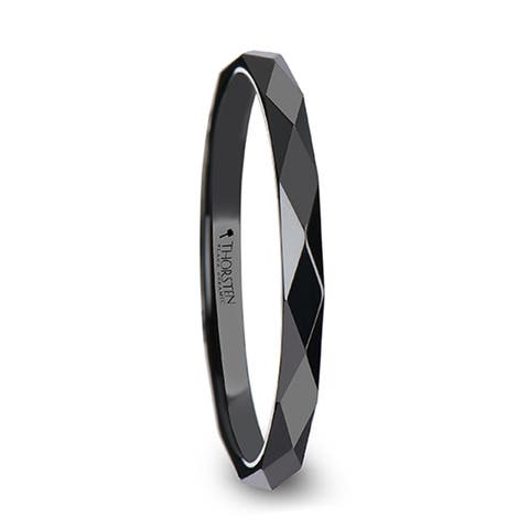 THORSTEN - DAVINA Polished Diamond Faceted Black Ceramic Ring for Women - 2 mm