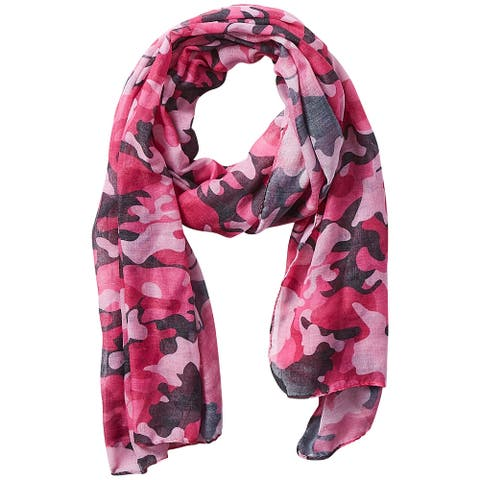 5.75' Pink, Black, and White Stylish and Fashionable Tickled Pink Camo Insect Shield Scarf