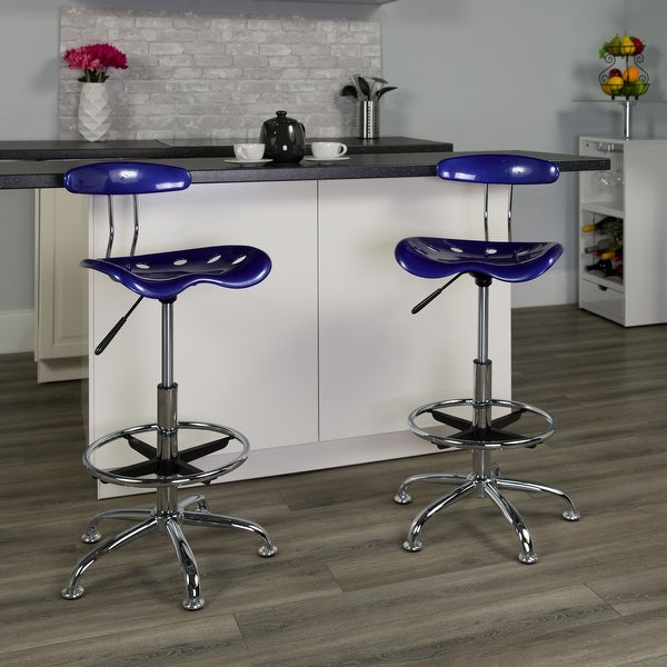 Vibrant Chrome Drafting Stool with Tractor Seat. Opens flyout.