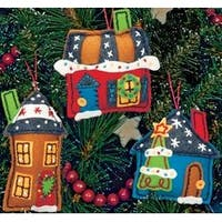"""Up To 5"""" Set Of 3 - Holiday Homes Ornaments Felt Applique Kit"""