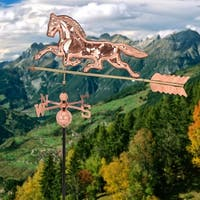 Costway Polished Copper Roof Mounted Outdoor Horse Weathervane Wind Weather Direction - Polished Copper