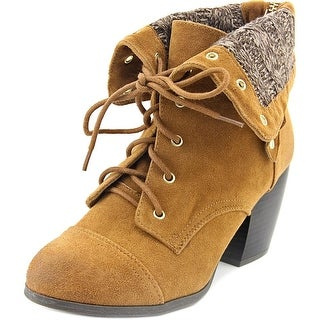 Qupid Maze-68 Women Round Toe Canvas Ankle Boot