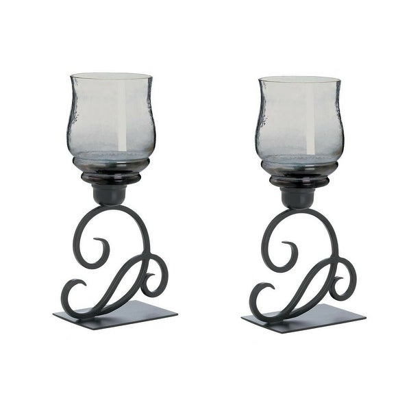 Set of 2 Glass Cursive Candle Stands