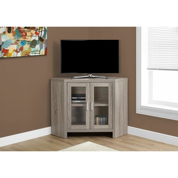 Monarch 2701 Dark Taupe 42nch Corner Tv Stand With Glass Doors. Opens flyout.