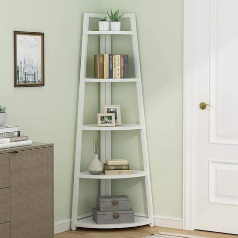 Tribesigns 5 Tier Tall Corner Shelf/Bookshelf /Bookcase/Plant Stan