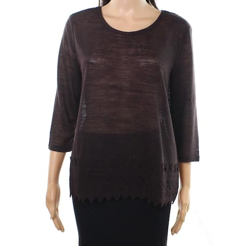 Dorothy Perkins Brown Women's Size 12 Crochet Detail Knit Top