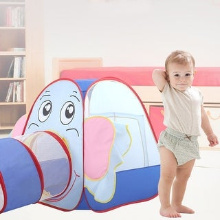 Costway Kids Baby Play Tent Elephant Tunnel In/Outdoor Portable Foldable Children Gift - as pic
