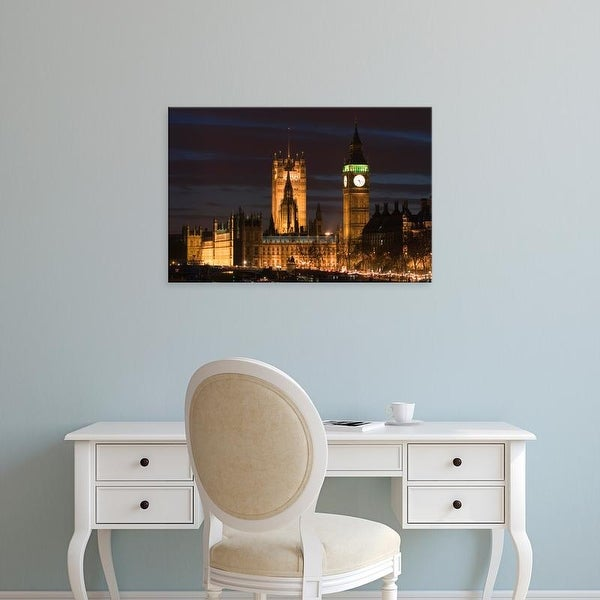 Easy Art Prints Walter Bibikow's 'London: Houses of Parliament / Evening' Premium Canvas Art