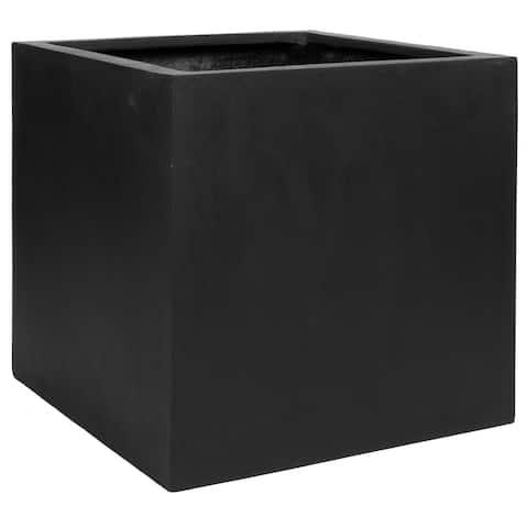 "Natural Block Square Planter Pot Indoor Outdoor Fiberstone Planter Box 24-in- Extra Large - 24"""