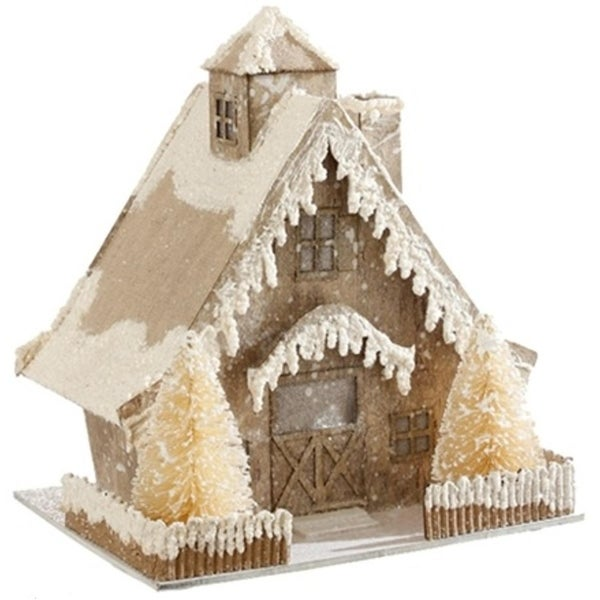 """9"""" Country Cabin Lighted Snowy Glittered Cottage Christmas Decoration"""