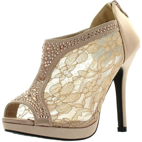 De Blossom Yael-9 Womens Wedding Bridal High Heel Platform Cystal Lace Ankle Bootie Shoes - Nude