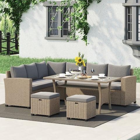 Corvus Leonore Rattan Wicker Outdoor 5-piece Sofa Set