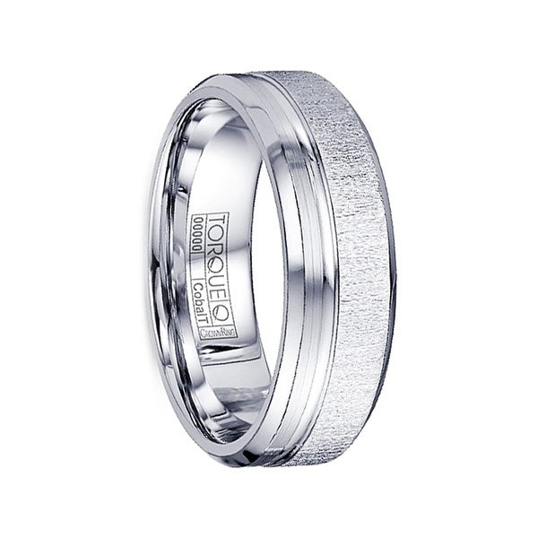 ALISTAIR Textured Cobalt Wedding Ring Polished Beveled Edges by Crown Ring - 7mm