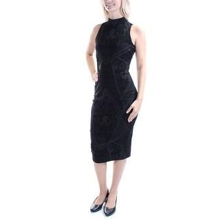 Womens Black Sleeveless Below The Knee Body Con Evening Dress Size: S