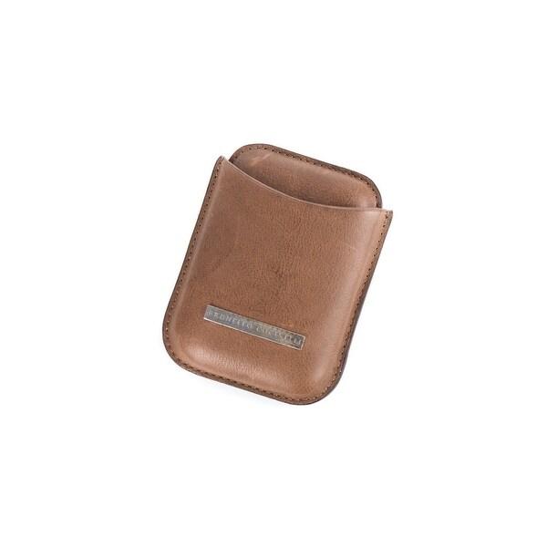 Brunello Cucinelli Men's Brown Distressed Leather Cardholder