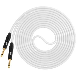 LyxPro Guitar Instrument Cable 10 feet ¼ TS Unbalanced Instrument Cable, Crystal Clear, Noiseless, Heavy Duty and Flexible (Option: White)