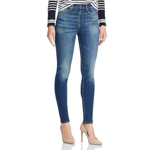 Rag & Bone Womens Nina Skinny Jeans High Rise Med Wash - Irving