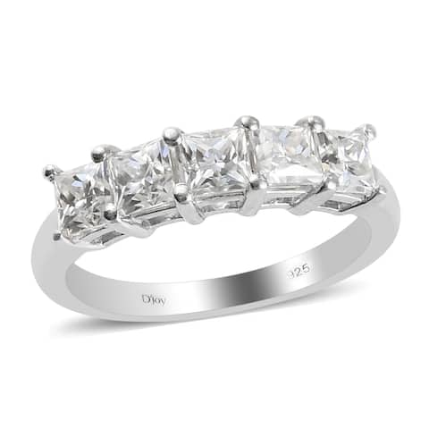 Shop LC Platinum Over 925 Silver Moissanite 5 Stone Ring Ct 1.4