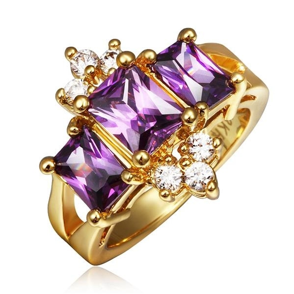 Gold Plated Lavender Crown Jewel Ring