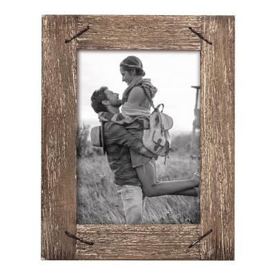 Foreside Home & Garden 4 x 6 inch Decorative Distressed Wood Picture Frame with Nail Accents