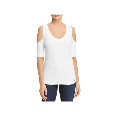 Donna Karan Womens Knit Top Cold Shoulder V-Neck