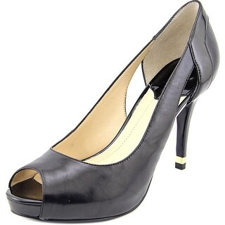 Marc Fisher Bross Women Open Toe Leather Black Platform Heel