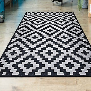 Link to Hampton Ionic Black-White Indoor/Outdoor Area Rug Similar Items in Classic Rugs