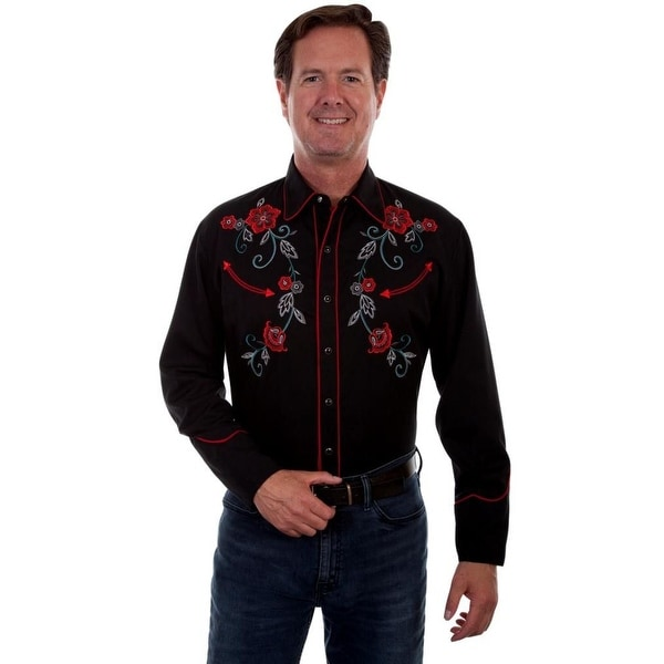 a211e6c2989e Shop Scully Western Shirt Mens L/S Vine Embroidery Contrast Piping - Free  Shipping Today - Overstock - 19988347